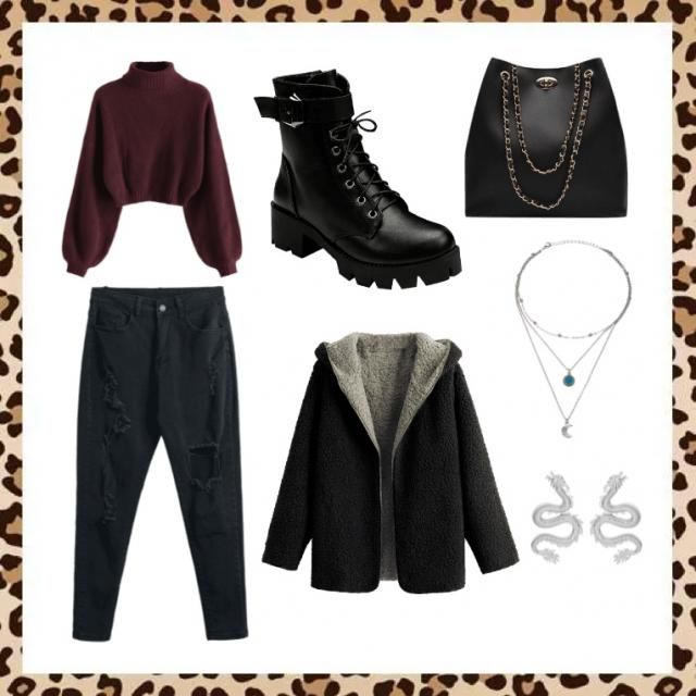 Black, edgy outfit for a cold night out.