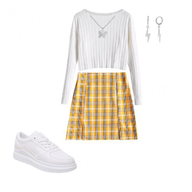 this outfit is so cute!! the white top matches perfect with the white in the plaid mini skirt! then the white shoes on …