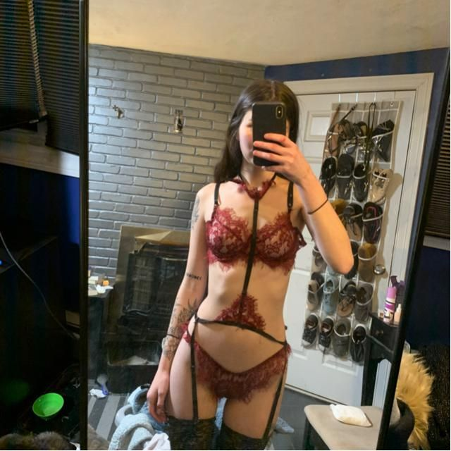 Lingerie from ZAFUL, stockings were mine.
