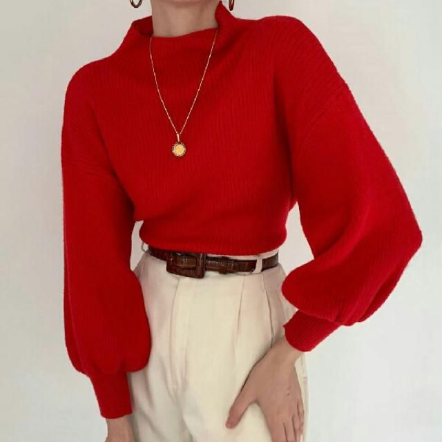 This is a chic way to wear a red mock neck sweater