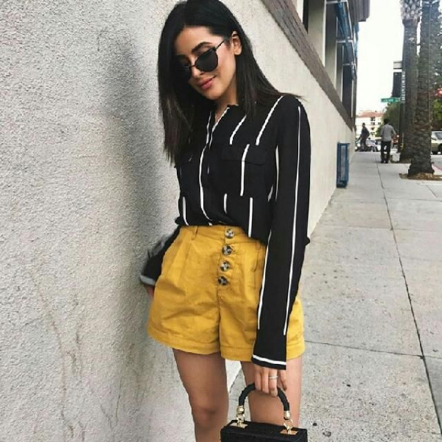 simple and chic outfit I like the yellow shorts