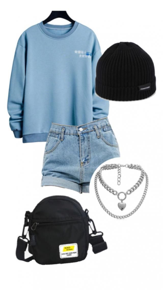 blue & black edgy Japanese street wear