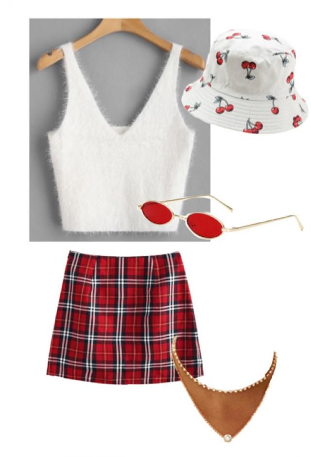 preppy casual girl ~ white & red
