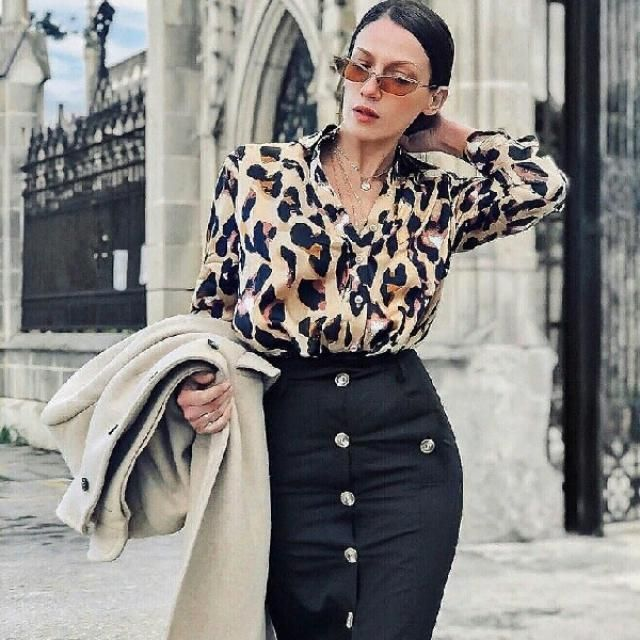 I love this leopard blouse it can make any outfit looks more fancy