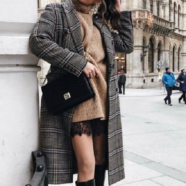long turtleneck sweater dress with the perfect plaid coat