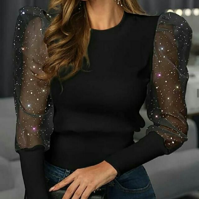 polka dot mesh sleeves mock neck blouse