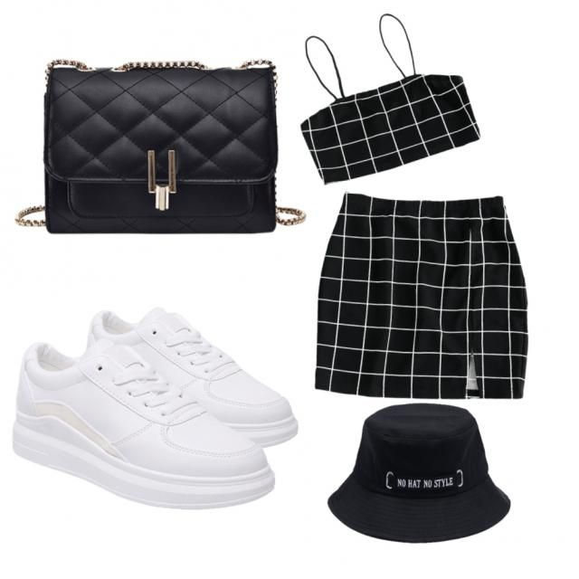 this is a two piece with a small purse and a pair of with trainers and a black hat