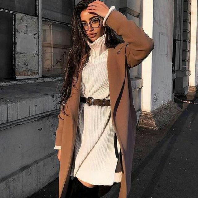 Looking for the neutral matchy-matchy outfit? How about this brown long coat and mini beige turtleneck sweater dre…