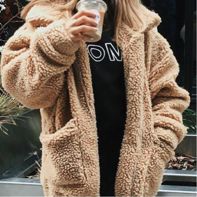 cute beige teddy bear coat 🧥