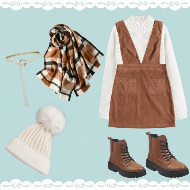 Cute knit sweater with a dress, belt, boots, and a knit scarf and hat