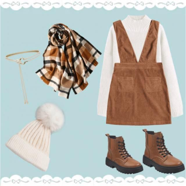 cute outfit with a knit sweater, hat, and scarf, with boots and a belt!