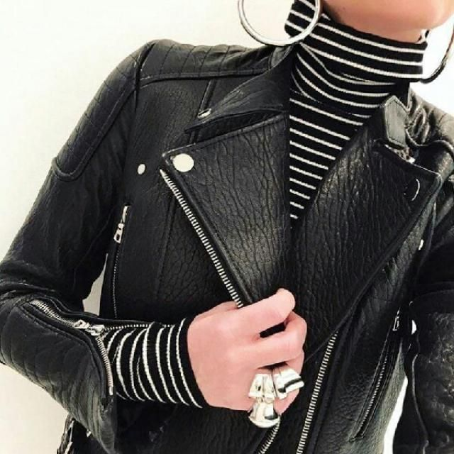 love this faux leather jacket and stripped turtleneck top