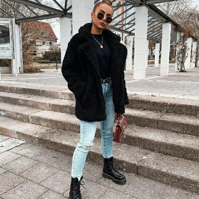 gorgeous faux fur black coat
