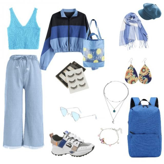 blue themed, 80s inspired outfit