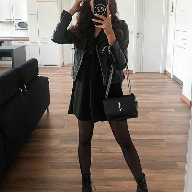 You can look stylish by wearing a little black dress with a faux leather jacket and comfy boots