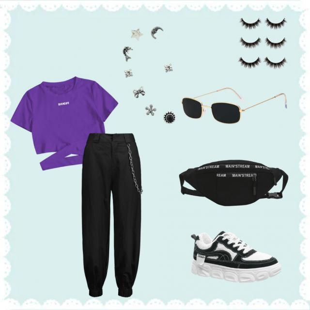 Purple and black outfit