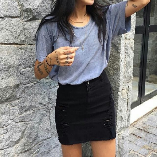 I love this black ripped denkm skirt it is so cute