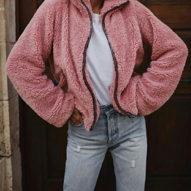 get this pink faux fur jacket from zaful it is so cute