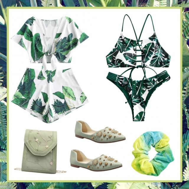 Cute leaf  summer vacation outfit, with matching swim suit and cover up, and with matching flower bag and shoes to go…