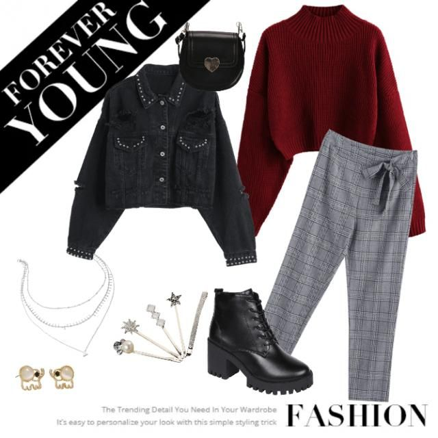 -Zstar A casual outfit. A red top w/ b&w pants combined with a cool jacket.
