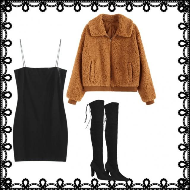 Any black dress (or black top w/ black skirt/short/jeans), any fluffy bear sweater, and black boots(any height &amp…