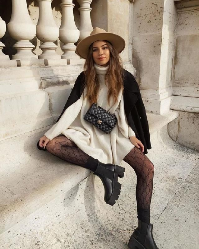 &White     Pair a sweater dress with Cool Ankle Boots. Boots and sweater dresses go hand in hand to give you that re…