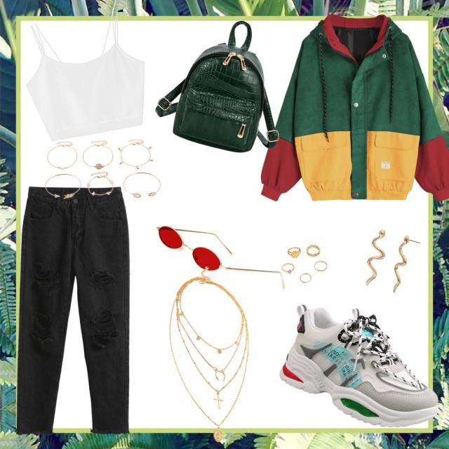 Cute cropped top outfit with oversized green red y yellow jacket with green and red shoes and gold accessori…