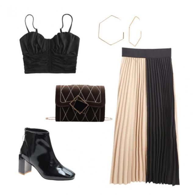 This contrasting outfit is perfect for a night out in the city!🖤