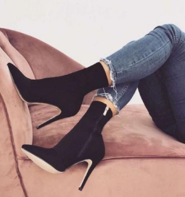 A stiletto heel adds height and a whole lot of street cred to these black pointed toe ankle boots. Pair them with fra…