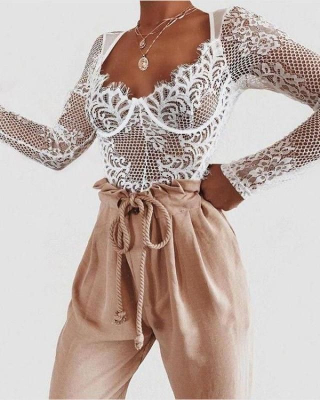 Pencil pants hug your curves, so tuck in a lace bodysuit or some great material shirt to keep the look classy, soph…