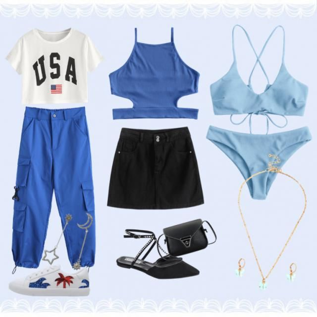 3 cute blue outfits for  ! left fit is a more street casual comfy. middle fit is a more dressed up party look. and th…