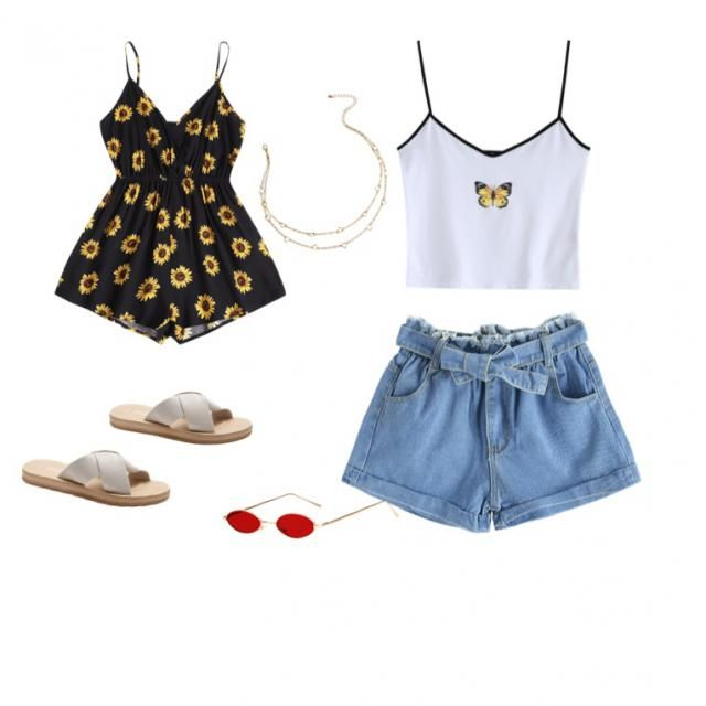 So cute for any summer day!! 2 outfits put together, cute glasses and necklace also