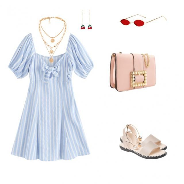puff sleeve dress combination for summer