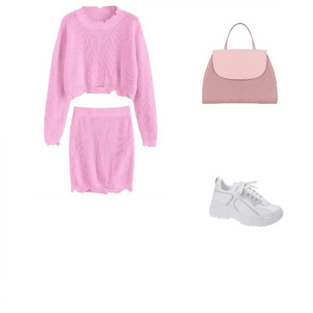 Pair a pink sweater set with a chunky white shoe and cute bag 💕