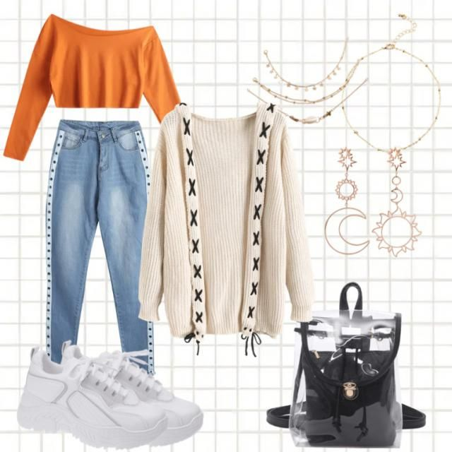 A warm natural cosy outfit with gold jewellery