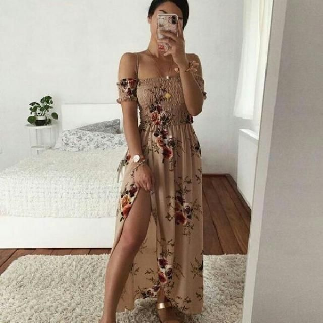 another great looking floral print long dress, you can try this off shoulder dress and style it with golden neckla…
