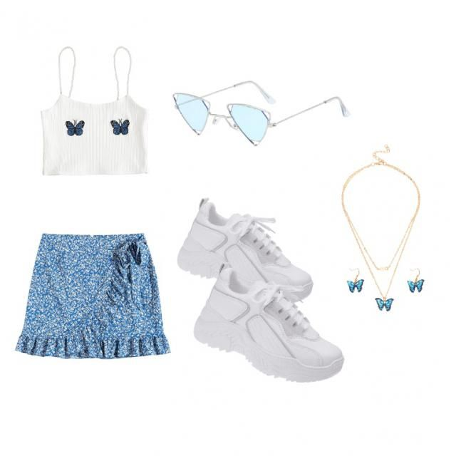 Subtle blue butterfly tank top with a blue  ditsy floral skirt with blue and white accessories