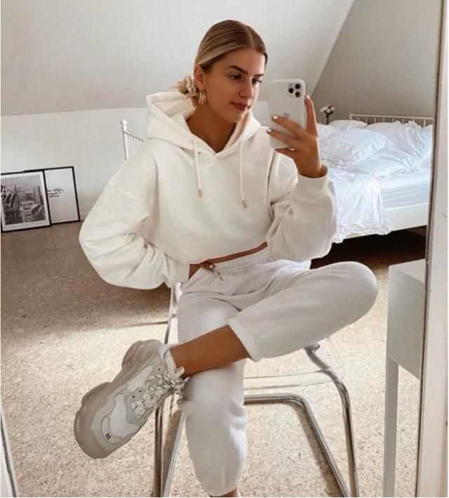 Wearing all white and still comfortable in it