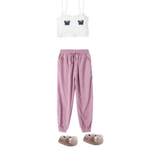 Cropped tank top & sweatpants-kinda like a mood