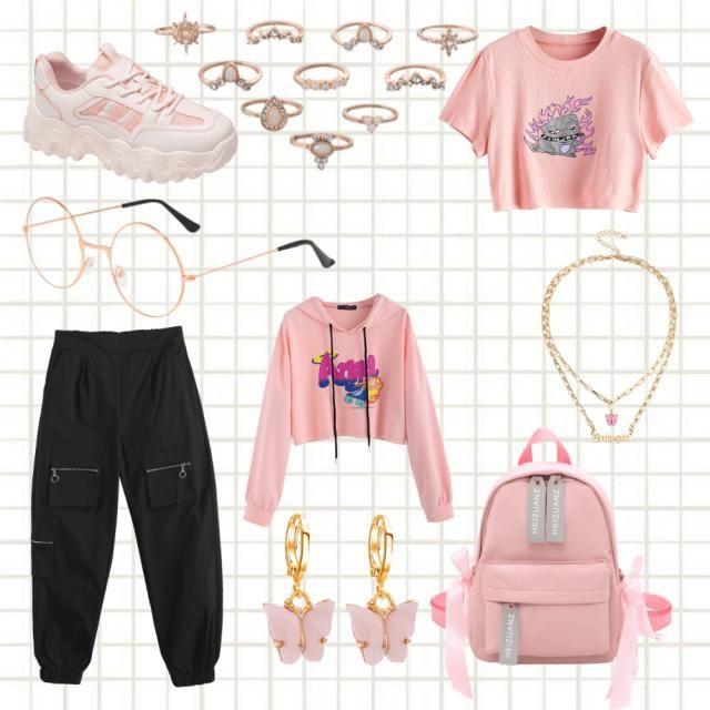 Chic casual pink retro