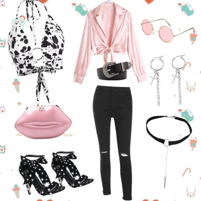 Light Pink with Black looks so nice together. You could wear this to a concert or when at a bar in Nashville.