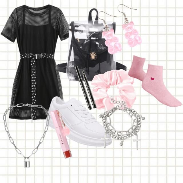 I did a black night moon type dress with white shoes and pink accessories to make the outfit stand out with a pop of co…