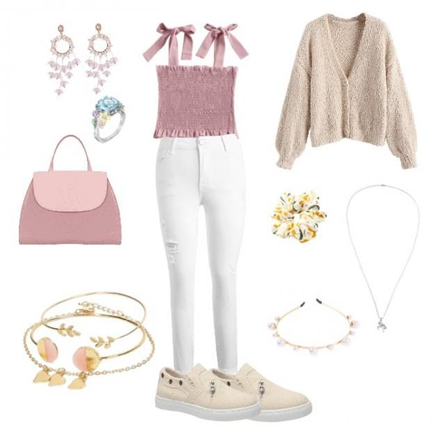 I think the colors of beige pink and white really being out the outfit. The outfits more of a soft look maybe in the wi…