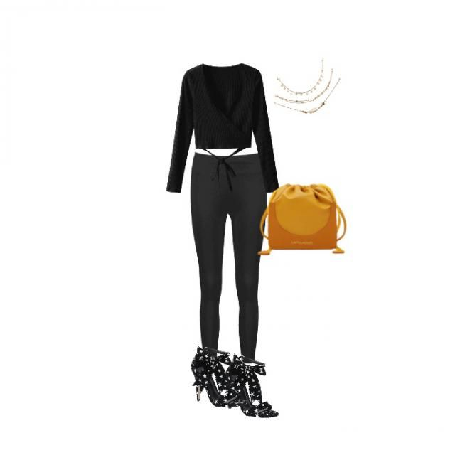 Nice black leggings for with a simple, black top with a necklace and heals just because and a yellow bag for a pop of c…