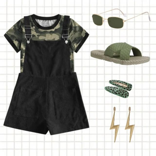 🌿Green toned down cool casual look 🌿