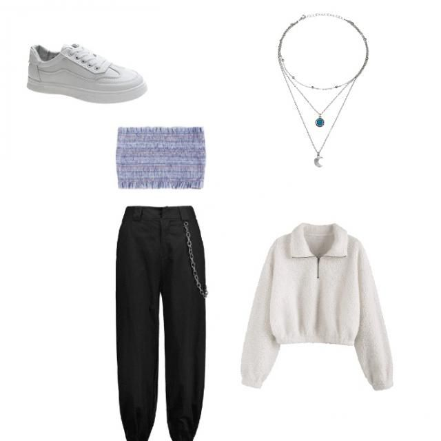 Mini crop top, sneakers, black joggers, mini sweater and necklace ✨💗