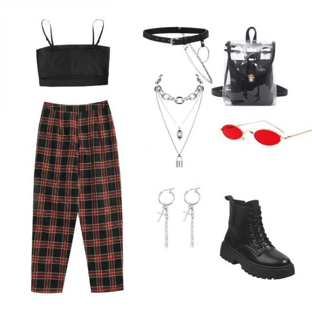 A good thrifting outfit with chain and red accents