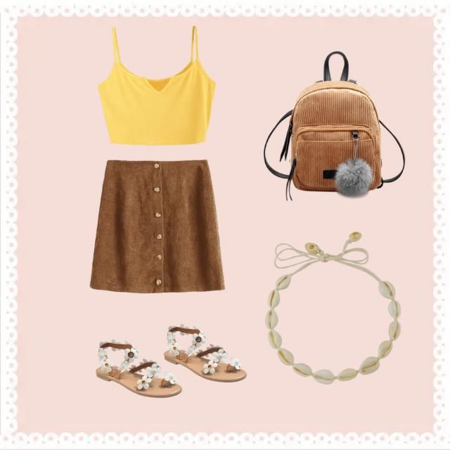 I think lemon and sand brown just go super well together and the daisy shoes go perfectly because the colours blend per…