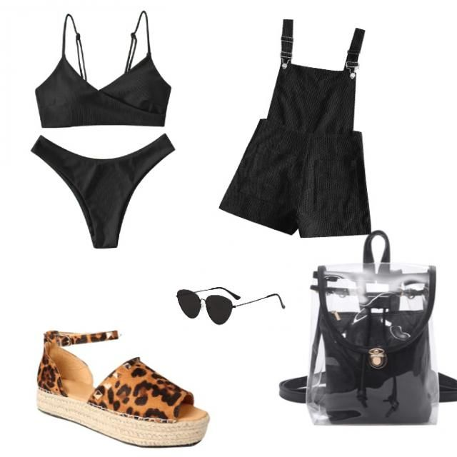 A perfect bikini and overall coverup for a day at the beach and then grabbing a bite to eat 💕