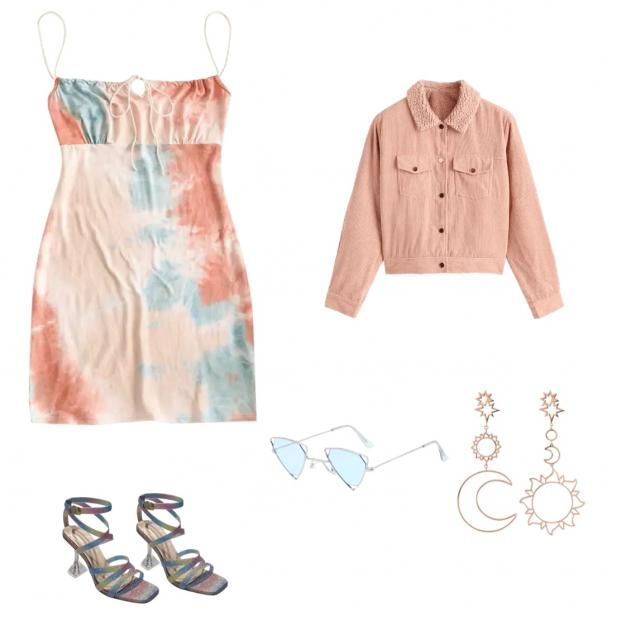 &baddie Super cute outfit also night out. Style this dress with an oversized jacket some heels earring a…